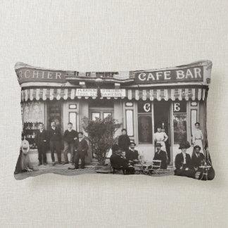 French cafe bar street scene lumbar cushion
