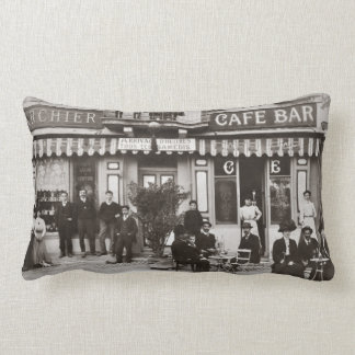 French cafe bar street scene lumbar pillow