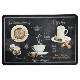 French Cafe Coffee Shop Chalkboard Typography Art Floor Mat
