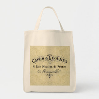 French Cafes & Legumes Grocery Tote
