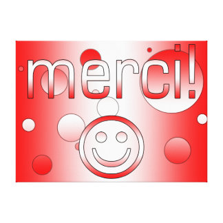 French Canadian Gifts Thank You Merci Smiley Face Canvas Prints