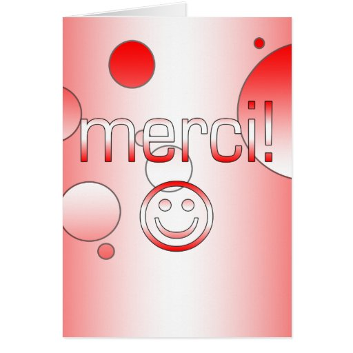 French Canadian Gifts Thank You Merci Smiley Face Card