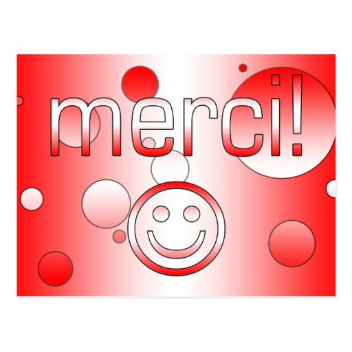 French Canadian Gifts Thank You Merci Smiley Face Post Cards