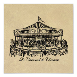 French Carousel Horses Apparel and Gifts 13 Cm X 13 Cm Square Invitation Card