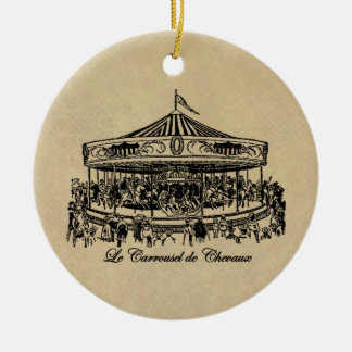 French Carousel Horses Apparel and Gifts Round Ceramic Decoration