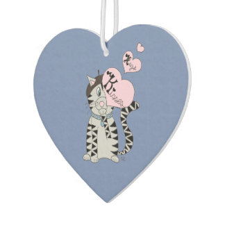 French cat hugs and kisses car air freshener