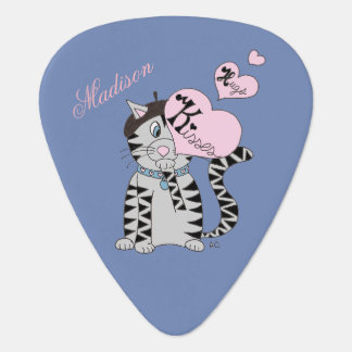 French cat personalized blue guitar pick