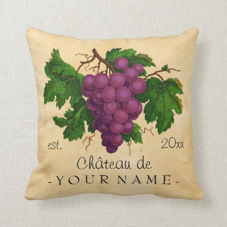 French Chateau with Grapes Vintage Personalized Cushion