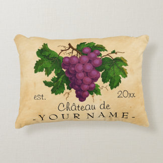 French Chateau with Grapes Vintage Personalized Decorative Cushion