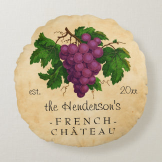 French Chateau with Grapes Vintage Personalized Round Cushion