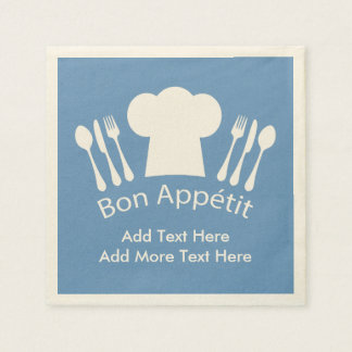 French Chef Bon Appetit Add Your Own Text Paper Serviettes