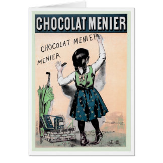 "FRENCH ""CHOCOLAT"" VINTAGE POSTERART GREETING CARD"