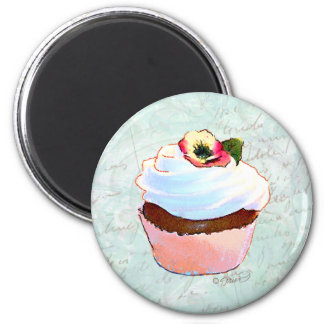 French Chocolate Cupcake Victorian Style 6 Cm Round Magnet