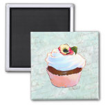 French Chocolate Cupcake Victorian Style Square Magnet