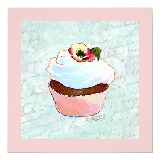 French Chocolate Pink Cupcake 13 Cm X 13 Cm Square Invitation Card
