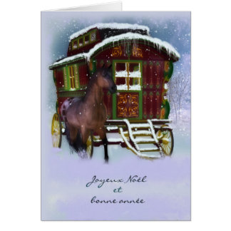 French Christmas Card - Horse And Old Caravan - Jo