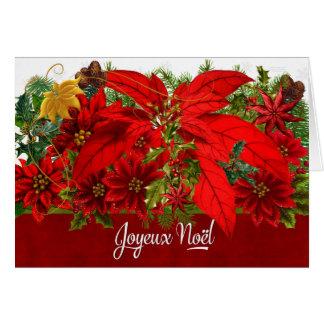 French Christmas Poinsettias Joyeux Noël Card