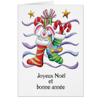 French - Christmas Stocking With Rabbit And Gifts Card