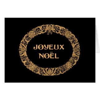 French Christmas Wreath Card Gold-effect on Black