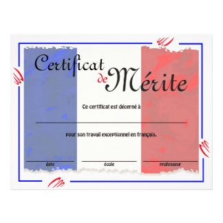 French Class Generic Certificate 21.5 Cm X 28 Cm Flyer