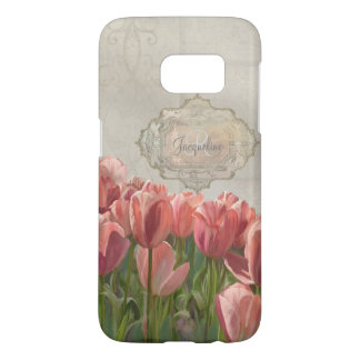 French Coral Pink Tulips w Grey Wood Scrolls Art