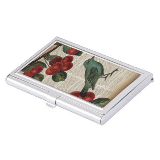 french country bird retro botanical red cherry business card holder