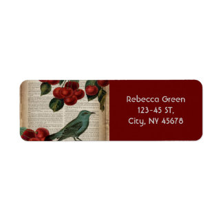 french country bird retro botanical red cherry return address label
