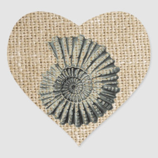 french country burlap beach coastal chic seashell heart sticker
