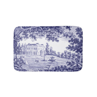 French Country Decor Blue Toile Bath Mat
