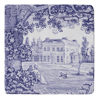French Country Decor Blue Toile Trivet