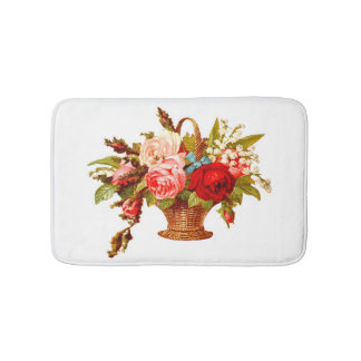 French Country Decor Rose Bouquet Bath Mat