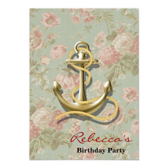 french country floral nautical girly anchor card