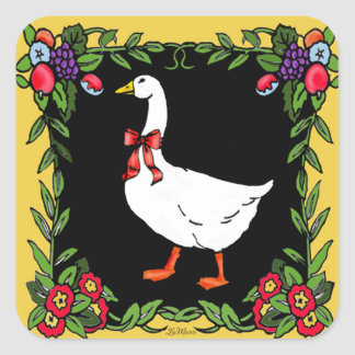french country goose square sticker