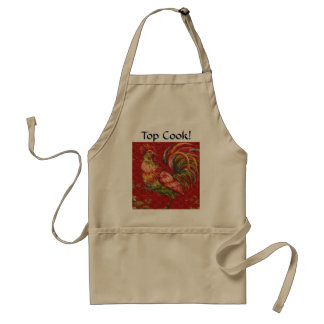 French Country Red Rooster Top Cook! Apron