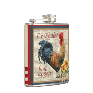 French Country Rooster-Bon Appetit Hip Flasks