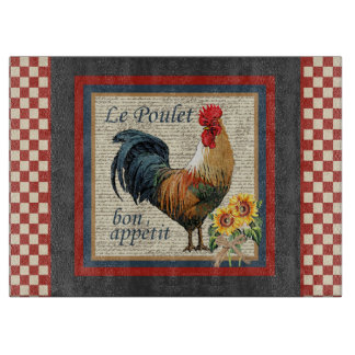 French Country Rooster-Le Poulet Cutting Board