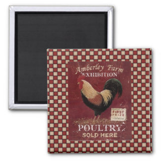 French Country Rooster Sign Fridge Magnet