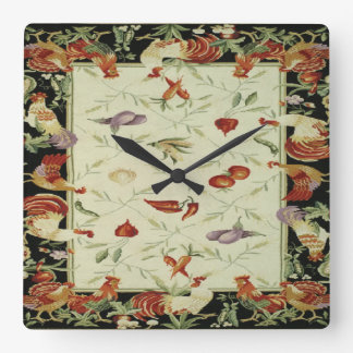 French Country Veggies Roosters Print Clock