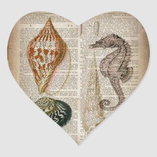 french country vintage seashell botanical print heart sticker