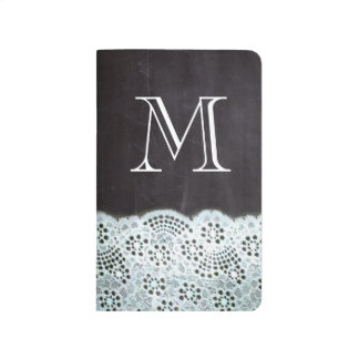 French country white lace chalkboard monogram journal