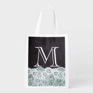 French country white lace chalkboard monogram reusable grocery bag