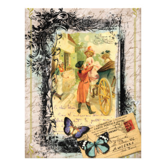 French Couple in Carriage 18th Century Flyer