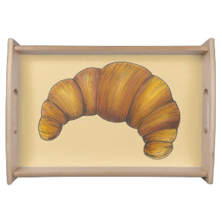 French Croissant Buttery Golden Pastry Bread Food Serving Tray