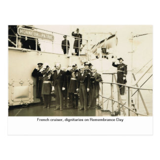 French cruiser, dignitaries on Remembrance Day Postcard