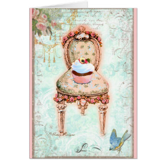 French Cupcake Victorian Style Greeting Card