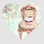 French Cupcake Victorian Style Heart Stickers