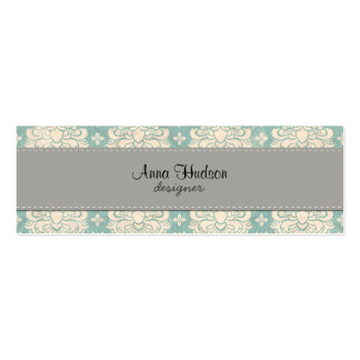 French Damask, Ornaments, Swirls - Blue Gray Business Card Templates