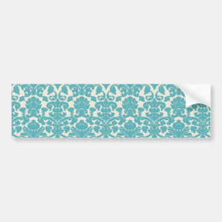 French Damask, Ornaments, Swirls - Blue White Bumper Stickers