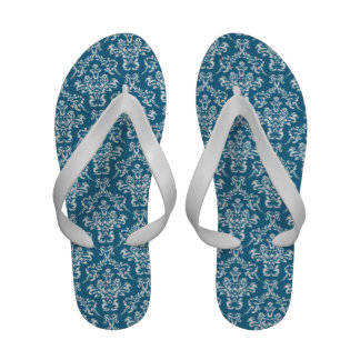 French Damask Ornaments Swirls - Blue White Sandals