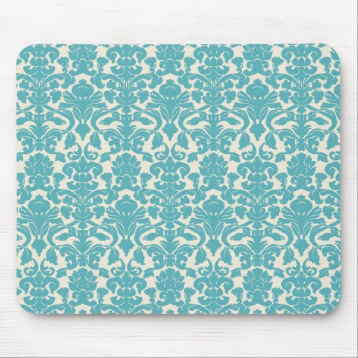 French Damask, Ornaments, Swirls - Blue White Mousepads